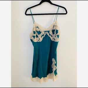 Vintage Gold Label Victoria's Secret Chemise Green